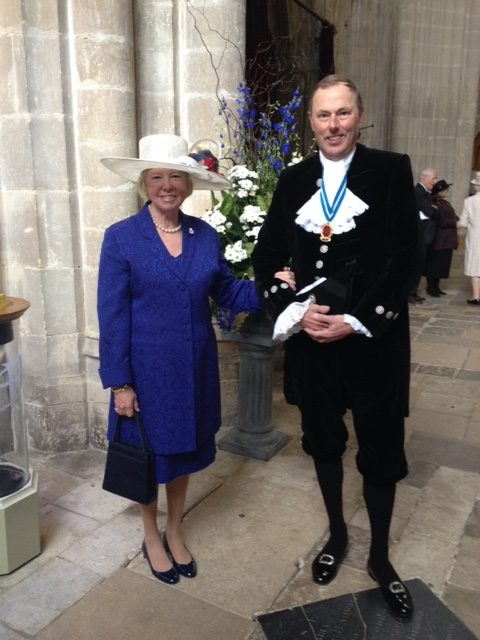 The High Sheriff and his wife Sarah at the entrance to Winchester Cathedral. We were there for The County Service to Celebrate Her Majesty The Queen's 90th Birthday which was held on Sunday 24th April. It was a fantastic service with over 750 people attending.