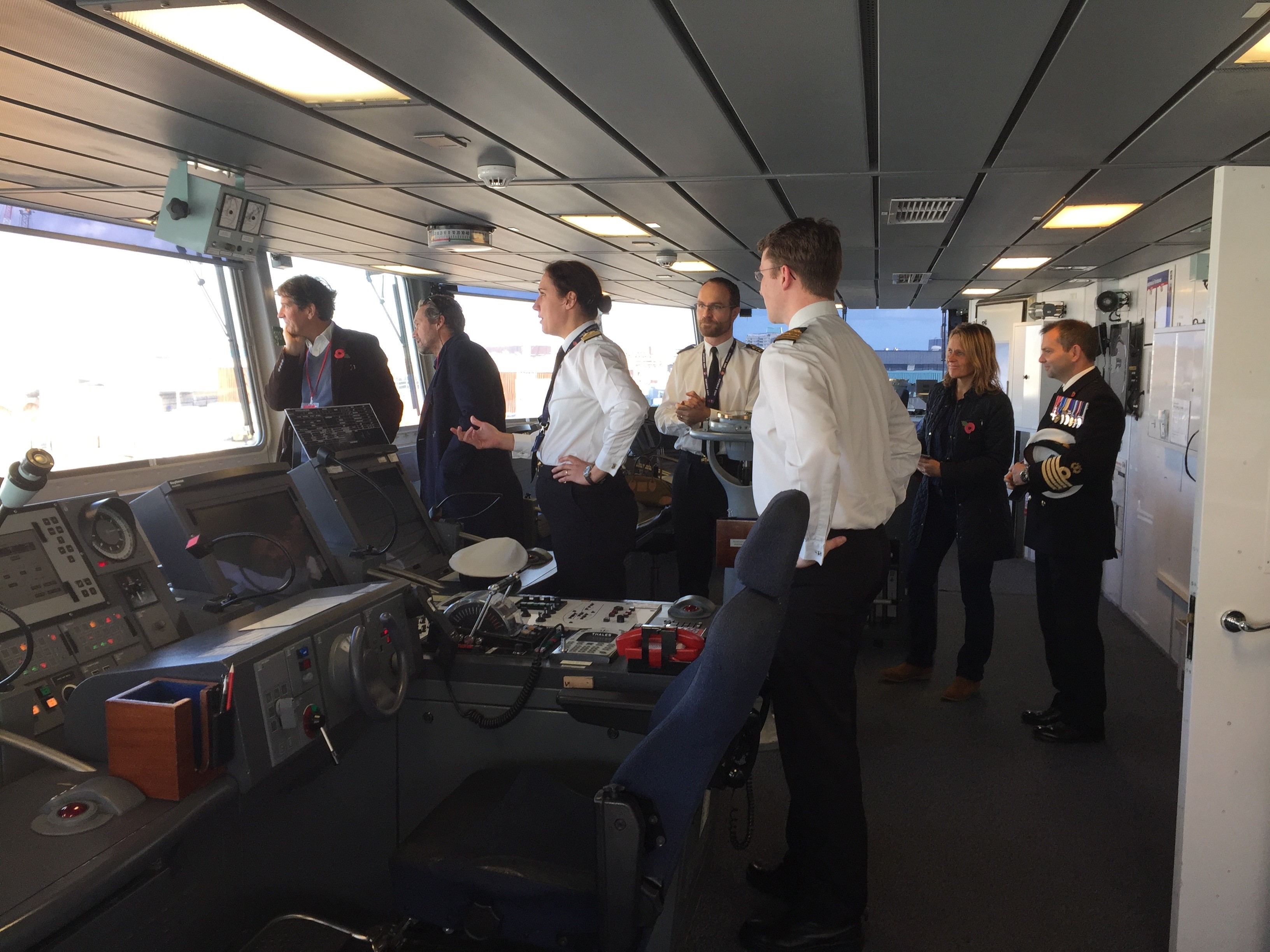 The Bridge of HMS Duncan with CO El Stack and guests